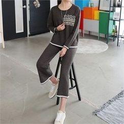 CHICFOX - Set: Printed Knit Top + Band-Waist Pants