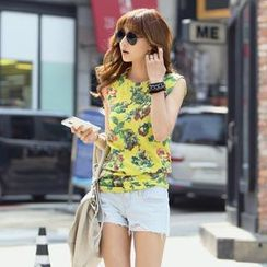 REDOPIN - Sleeveless Floral Print Top
