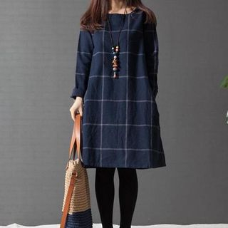 Fashion Street - Long-Sleeved Plaid Dress