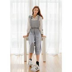 J-ANN - Drawstring-Waist Wide-Leg Jumpsuit