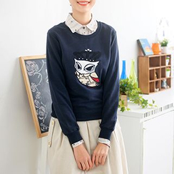 59 Seconds - Owl Appliqué Pullover