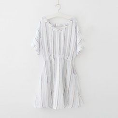 Meimei - Pinstriped V-neck Dress