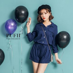 PUFII - Drawstring Playsuit
