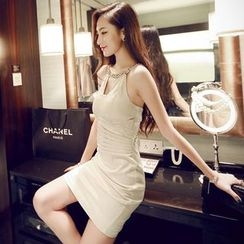 Sherbo - Jeweled-Neckline Pleated Party Dress