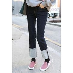 migunstyle - Cuff-Hem Stitched-Detail Jeans