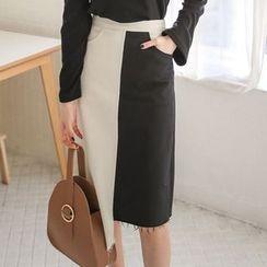 PPGIRL - Asymmetric-Hem Color-Block Skirt