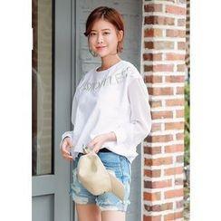 J-ANN - Sheer-Sleeve Lettering Embroidered Sweatshirt