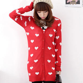 HSTYLE - Heart Print Long Cardigan