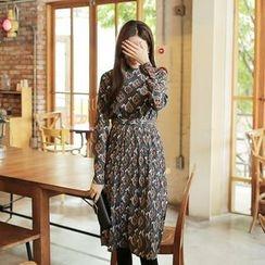 Cherryville - Mandarin-Collar A-Line Midi Dress with Belt