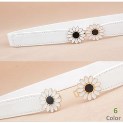 Goldenrod - Flower Accent Slim Elastic Waist Belt