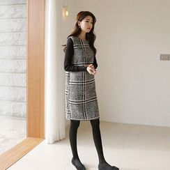 Hello sweety - Sleeveless Houndstooth Shift Dress