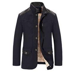 和文 - 刷毛襯裡拼接飾扣夾克