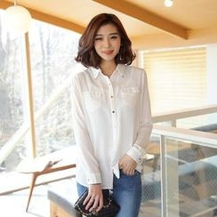 Envy Look - Dual-Pocket Chiffon Blouse
