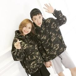 Teezone - Couple Matching Camo Windbreaker