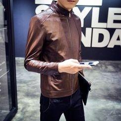 KANGI - Faux-Leather Zip Jacket