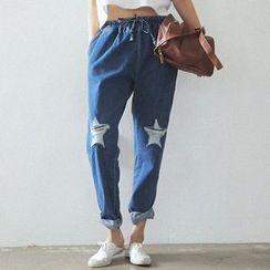 Isadora - Drawstring Distressed Washed Jeans
