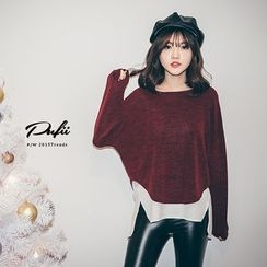 PUFII - Mock Two-Pieces Knit Top