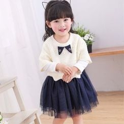 Youtale - Kids Set: Long-Sleeve A-line Dress + Short-Sleeve Top