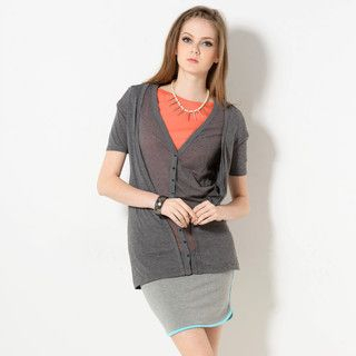YesStyle Z - Mock Two-Piece Short-Sleeved Cardigan