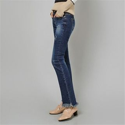 Styleberry - Fray-Hem Boot-Cut Jeans