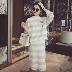 Dreamy Kiss - Set: Striped Pullover + Straight Fit Skirt
