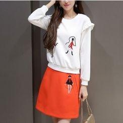 Mandalle - 套装: 印花皱摺边卫衣 + 短裙