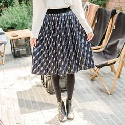 WITH IPUN - Band-Waist Accordion-Pleat Patterned Skirt