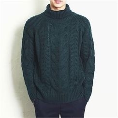 MITOSHOP - Turtle-Neck Cable-Knit Sweater