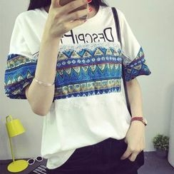Kissu - Lace Panel Patterned Short-Sleeve T-shirt