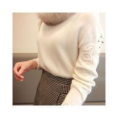 LEELIN - Appliqué Wool Blend Sweater