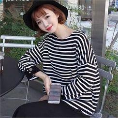 Styleberry - Cuffed-Sleeve Stripe Knit Top