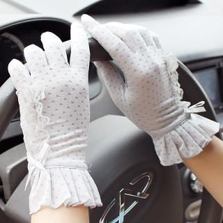 Momiton - Frilled Lace-Trim Dotted Gloves