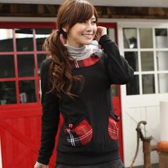 Flower Idea - Plaid-Pocket Long-Sleeve Top