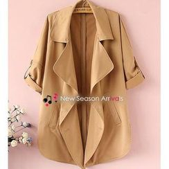Munai - Double-Breasted Lapel Trench Coat