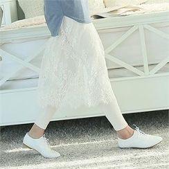 Soneed - Inset Midi Lace Skirt Leggings