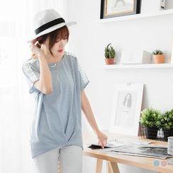 OrangeBear - Short-Sleeve Lace Panel T-Shirt