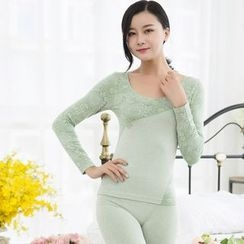 HYG Lingerie - Set: Vintage Pattern Round-Neck Long-Sleeve Top + Pants