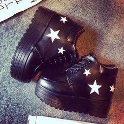 Micha - Star Print Lace-Up Platform Shoes