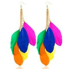 Sunset Hours - Feather Hook Earrings
