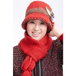 siggi - Knit Bowler Hat with Scarf