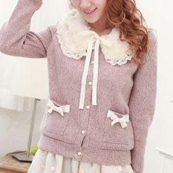 MUSI - Furry Collar Cardigan