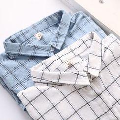 布丁坊 - 格子长袖衬衫