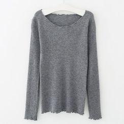 Meimei - 皺褶邊羅紋長袖T裇