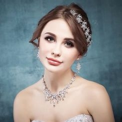 Nymphie - Set: Rhinestone Earrings + Necklace +Tiara