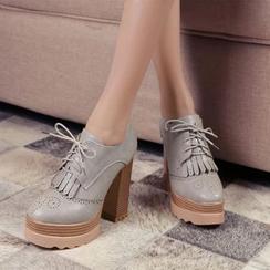 錦洋鞋業 - 粗跟布洛克牛津鞋