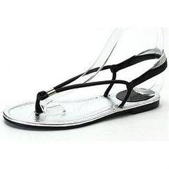 MODELSIS - Genuine Sheepskin Two-Tone Thong Sandals