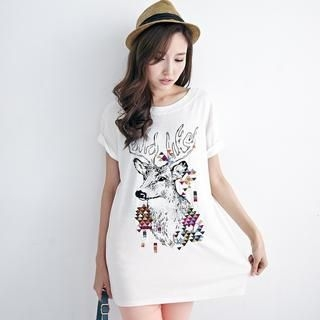 BAIMOMO - Short-Sleeve Deer-Print T-Shirt