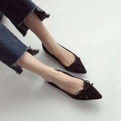 Linda Lane - 尖头饰蝶结平底鞋