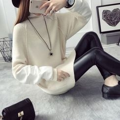 Qimi - Faux Leather Panel Thick Sweater