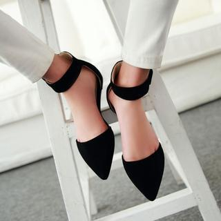 Pangmama - Ankle-Strap Pointy Flats